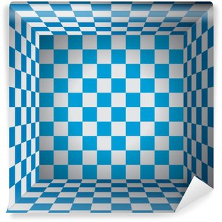 Plaid room, blue and white cell, 3d chess box, oktoberfest vector design background
