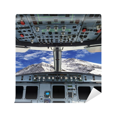 Plane cockpit and snow mountain wall mural pixers we for Cockpit wall mural
