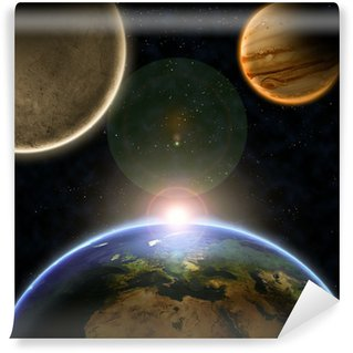 Planets with sunrise in the space