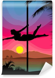 Wall Mural - Vinyl Pole dancer silhouette in front of sunset on the palm beach