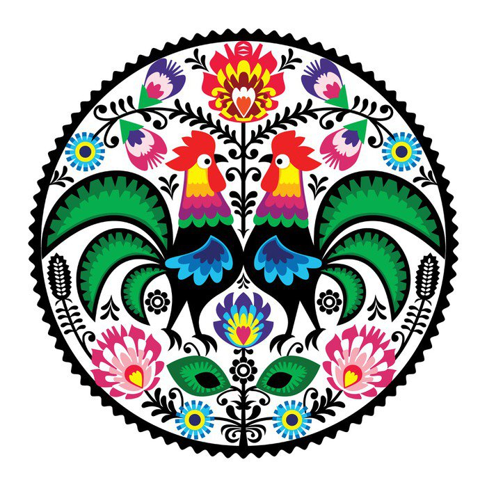Polish floral embroidery with roosters folk pattern vinyl