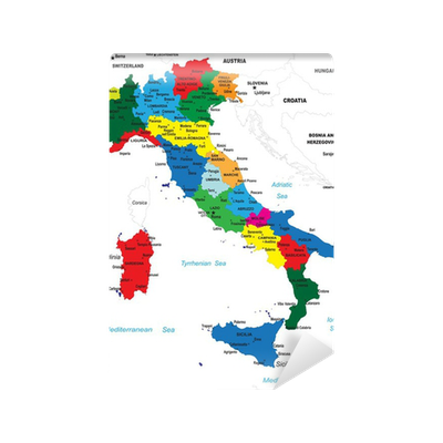 Political Map Of Italy Wall Mural Pixers We Live To Change - Political map of italy