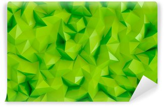 Wall Mural - Vinyl Polygonal lime green 3d triangle geometric abstract background