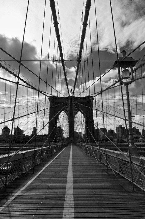 Pont de brooklyn noir et blanc new york vinyl wall mural - Poster mural noir et blanc ...