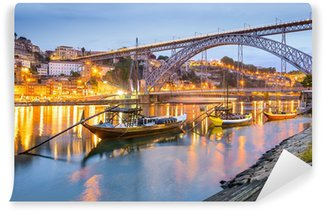Porto, Portugal Town Skyline on the Douro River Wall Mural - Vinyl