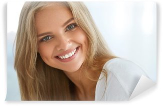 Wall Mural - Vinyl Portrait Beautiful Happy Woman With White Teeth Smiling. Beauty. High Resolution Image