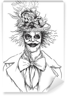 Wall Mural - Vinyl Portrait of an undead (zombie, scary clown ...) , hand drawing