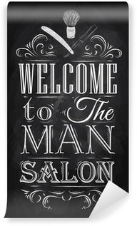 Wall Mural - Vinyl Poster Barbershop welcome to the man salon in a retro style and