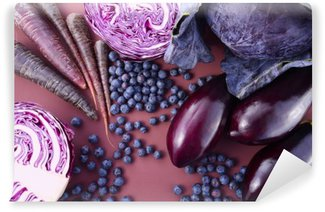 Vinyl Wall Mural Purple fruits and vegetables