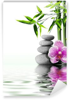 Vinyl Wall Mural purple orchid flower end bamboo on water
