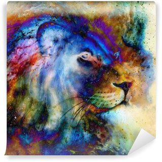 rainbow lion on beautiful colorful background with hint of space feeling, lion profile portrait.
