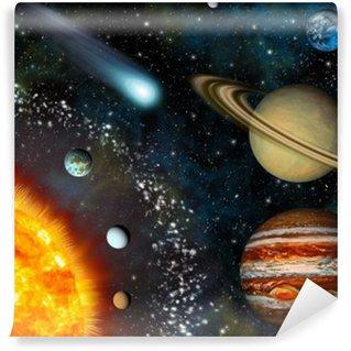 Realistic 3D Solar System Wallpaper Wall Mural - Vinyl