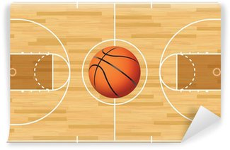 Wall Mural - Vinyl Realistic Vector Basketball Court and Ball