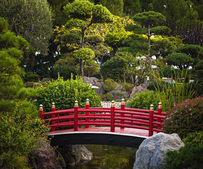 Wall Mural   Vinyl Red Bridge In Japanese Garden   Urban Part 38