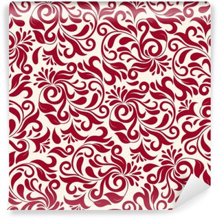 Vinyl Wall Mural Red Damask Pattern