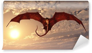 Vinyl Wall Mural Red Dragon Attacking from a Sunset Sky