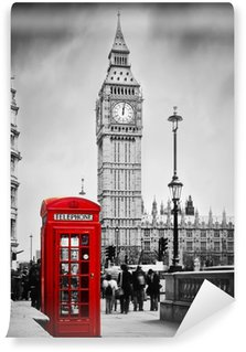 Vinyl Wall Mural Red telephone booth and Big Ben in London, England, the UK.