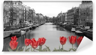 Wall Mural - Vinyl red tulips in amsterdam
