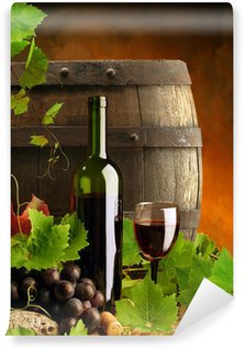 Red wine, grapevine and cask