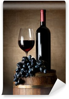 Wall Mural - Vinyl Red wine with barrel and grapes