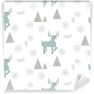Reindeer in a snowy woods seamless vector pattern. Scandinavian style white and blue pastel background.