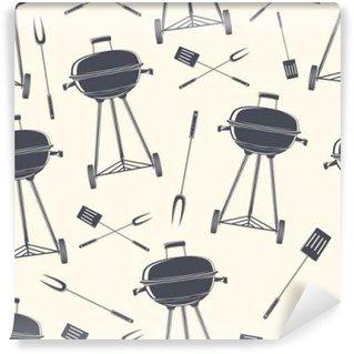 Wall Mural - Vinyl Retro BBQ grill, seamless pattern.