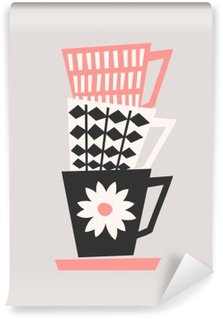 Retro Coffee Cups Wall Mural - Vinyl