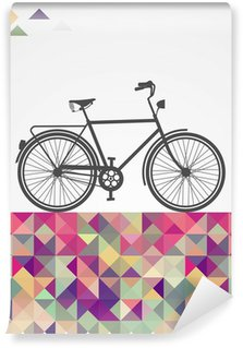 Vinyl Wall Mural Retro hipsters bicycle geometric elements.