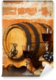 Wall Mural - Vinyl Retro still life with red wine and barrel