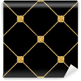 Rhombus seamless pattern. Gold glitter and black template. Abstract geometric texture. Golden ornament. Retro, Vintage decoration. Design template wallpaper, wrapping, fabric etc. Vector Illustration. Wall Mural - Vinyl