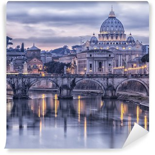 Wall Mural - Vinyl Rome and the river tiber at dusk