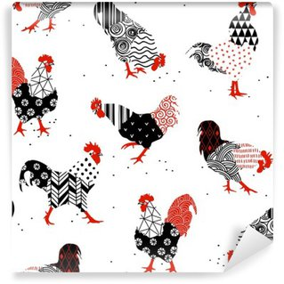 roosters with patterns Wall Mural - Vinyl