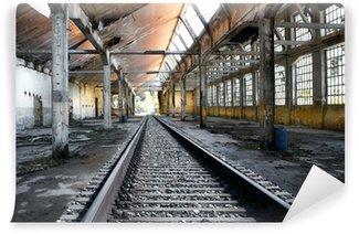 Wall Mural - Vinyl rotaie in fabbrica abbandonata