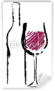 Wall Mural - Vinyl Rotweinglas mit Flasche