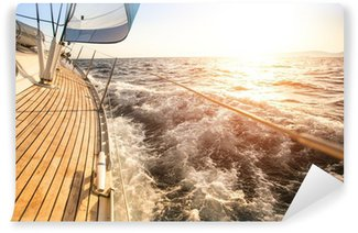 Wall Mural - Vinyl Sailing to the Sunrise. Luxury yacht.