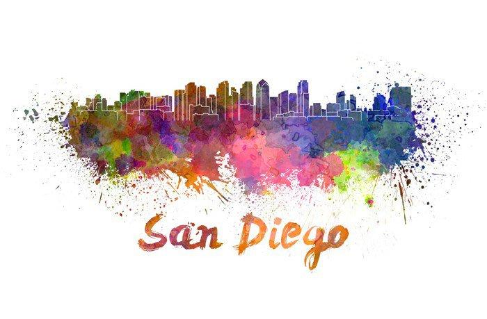 Wall Mural   Vinyl San Diego Skyline In Watercolor   America