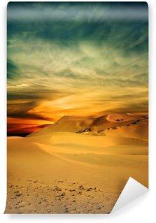 Sandy desert at sunset time Wall Mural - Vinyl