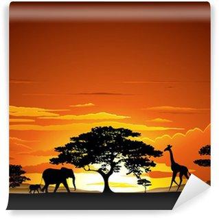 Savana Tramonto e animali-Savannah Sunset and Animals-2-Vector