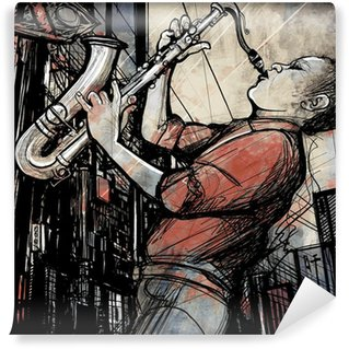 Wall Mural - Vinyl saxophone player in a street at night