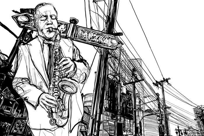 Wall Mural - Vinyl saxophone player in a street - Jazz