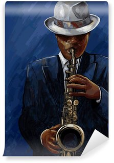 Wall Mural - Vinyl saxophonist playing saxophone on a blue background