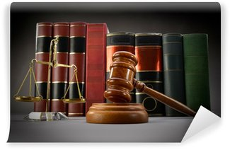 Wall Mural - Vinyl Scales of justice, law books and gavel over dark background
