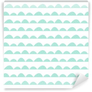 Scandinavian seamless mint pattern in hand drawn style. Stylized hill rows. Wave simple pattern for fabric, textile and baby linen. Wall Mural - Vinyl