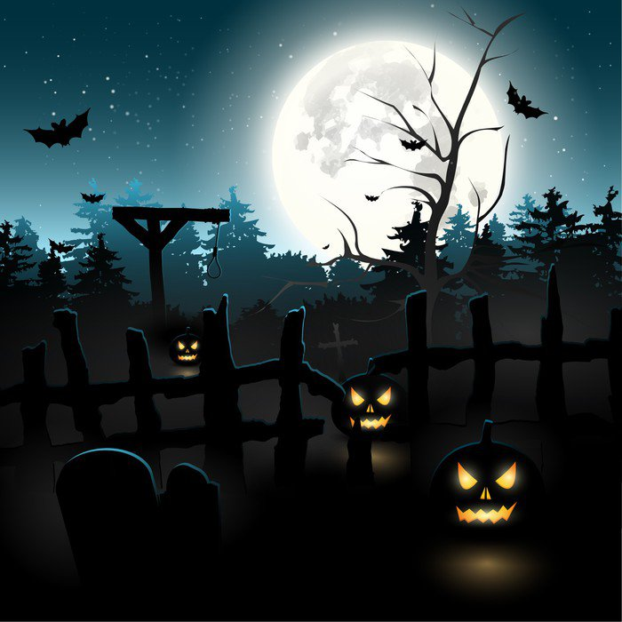 wall mural vinyl scary graveyard at night halloween background international celebrations - Halloween Wall Mural
