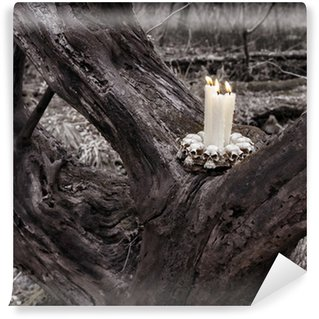 wall mural vinyl scary halloween still life with candles in the forest - Halloween Wall Mural