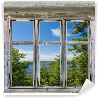 Wall Mural - Vinyl Scenic view seen through an old window frame