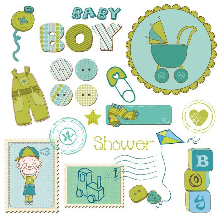 Scrapbook baby shower boy set design elements wall mural for Baby shower wall mural