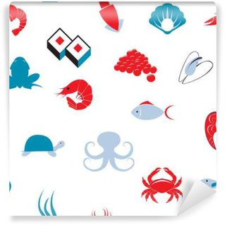 Wall Mural - Vinyl Sea food seamless pattern