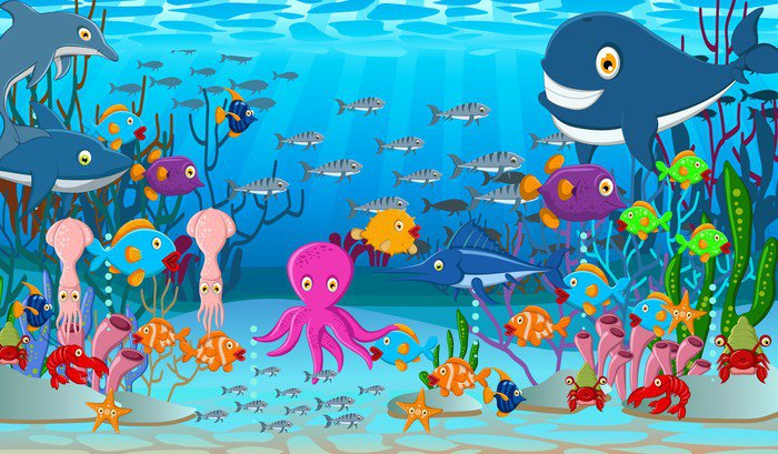 Delightful Sea Life Cartoon Background Vinyl Wall Mural Pixers We Live Part 23