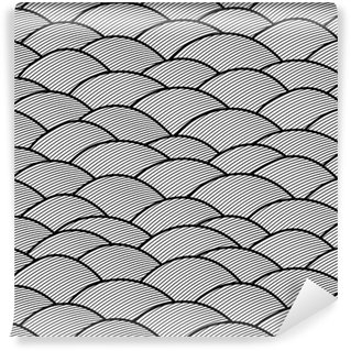 Seamless abstract hand drawn pattern, waves background.
